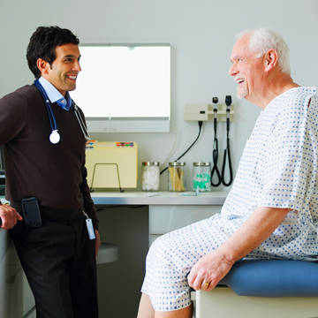 Male senior patient with male doctor