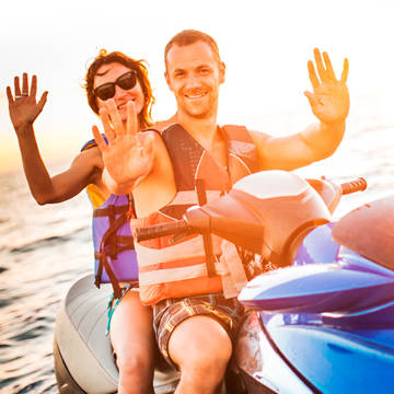 Couple on jet ski