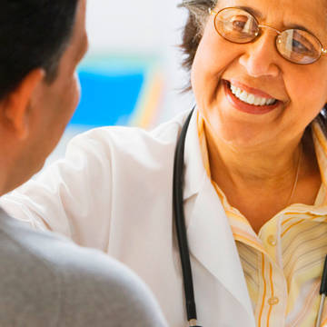 Patient with Hispanic female doctor