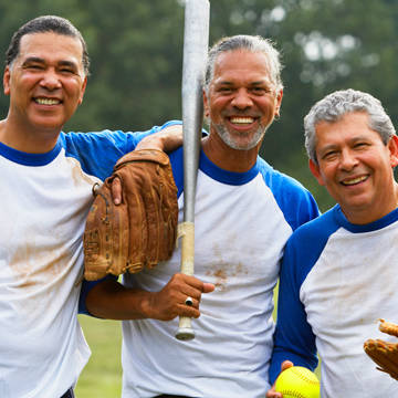 3 men with baseball gears