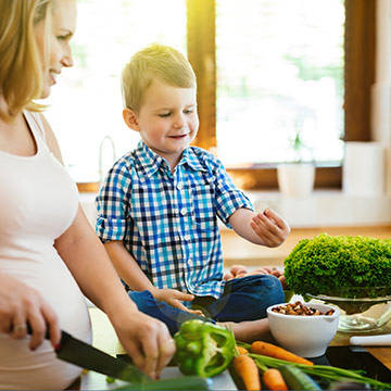 Mother and son making healthy food