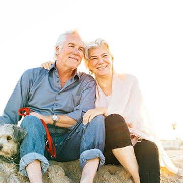 Senior Couple on Beach Sunset