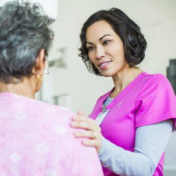 Woman at a mammogram procedure