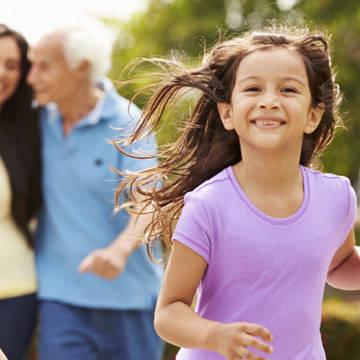 Smiling girl running