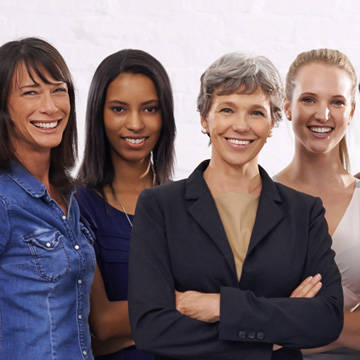 Diverse group of women smiling